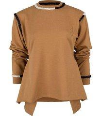 tobacco asymmetric contrast stitch sweatshirt