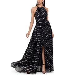 betsy & adam foil-print chiffon gown