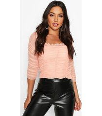 all over ruched mesh top, coral