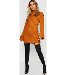 petite oversized rib knit sweater dress, mustard