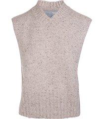 fedeli melange sand cashmere vest with v-neck