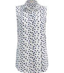 camisa intens sem manga estampada branca/marinho