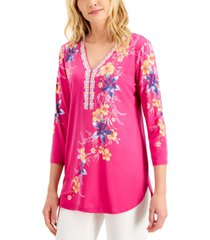 jm collection petite printed embellished top, created for macy's