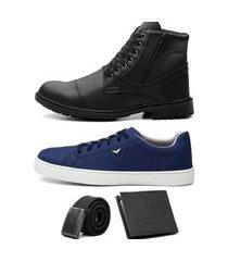kit coturno adventure + sapatenis casual masculino + cinto e carteira preto/azul