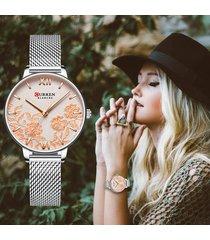 reloj dama de flores curren análogo elegante color plateado