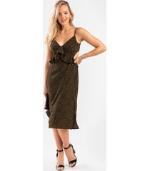 mali leopard ruffle midi dress - sage