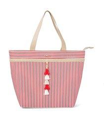 shopping bag tassel listras vermelhas cs club vermelho - tricae
