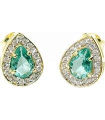 brinco gota pequeno semijoia banho de ouro 18k cristal turmalina paraãba cravaã§ã£o de zircã´nia detalhe em rã³dio - verde - feminino - dafiti