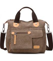 kvky vintage borsa a mano in tela con tasche frontali tote bag
