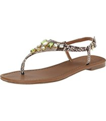 wild pair womens frazier natural leather t-strap thong sandals shoes nwob