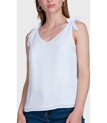 blusa ash con lazo en tirantes blanco - calce regular