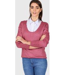 sweater rosa etam escote amplio