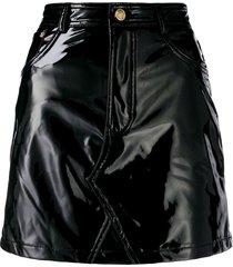 chiara ferragni vinyl skirt - black