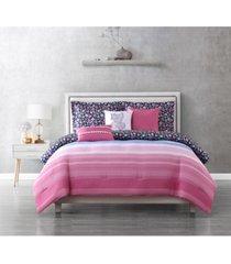 juicy couture beach sky reversible comforter set, 6 piece, queen bedding