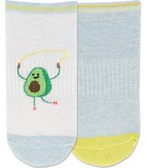 hot sox 2-pk. jump rope avocado low-cut socks