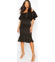 maternity frill bardot midi dress, black