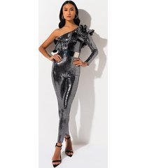 akira everyone knows one shoulder sequin jumpsuit