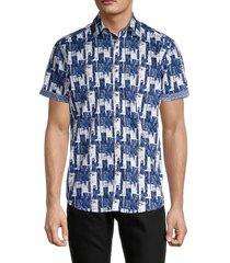 robert graham men's hotchkiss classic-fit abstract-print shirt - camo grey - size m