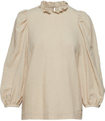 carly puff sleeve top t-shirts & tops long-sleeved beige mayla stockholm