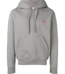 ami hoddie sweatshirt with red ami de coeur patch - grey