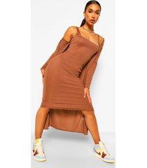 midi jurk met bandjes en lange duster jas set, cappucino