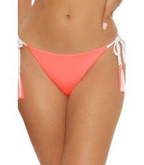 women's becca fine line reversible side tie bikini bottoms, size large - pink