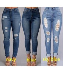 women's fashion sexy high waist pencil jeans casual blue ripped denim pants lady