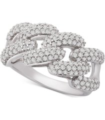 wrapped in love diamond link detail statement ring (1 ct. t.w.) in sterling silver, created for macy's