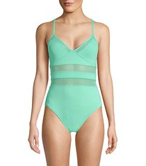 mesh 1-piece swimsuit