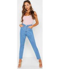 mom jeans met hoge taille, lichtblauw