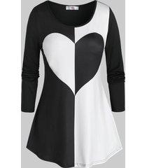 plus size bicolor heart long sleeve tunic tee