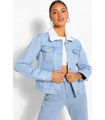 borg collar jean jacket, light blue