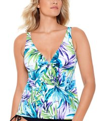 swim solutions blue palms printed v-neck tankini, created for macy's women's swimsuit