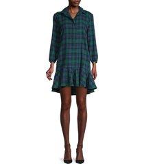 love ady women's plaid-print mini shift dress - blue forest - size m