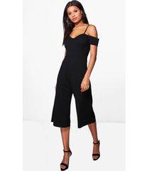 culotte jumpsuit met open schouders, black