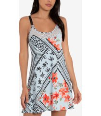 linea donatella lace-trim printed chemise nightgown