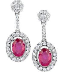 certified ruby (1-1/5 ct. t.w.) & diamond (1/2 ct. t.w.) drop earrings in 14k white gold