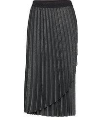 metallic pleated skirt knälång kjol svart karl lagerfeld