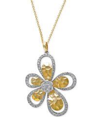 d'oro by effy diamond flower pendant necklace (1 ct. t.w.) in 14k white and yellow gold