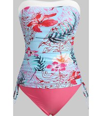 floral leaf side cinched ruched bandeau tankini swimwear