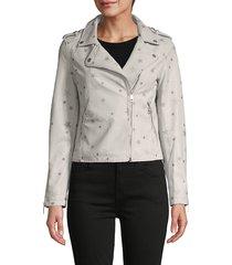 vigoss women's star-print faux leather jacket - light grey - size l