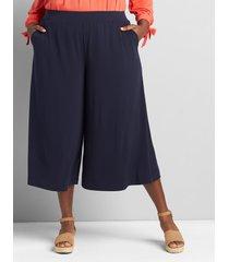 lane bryant women's knit kit pull-on wide leg capri 18/20p night sky