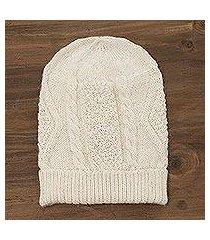 100% alpaca knit hat, 'alabaster diamonds' (peru)