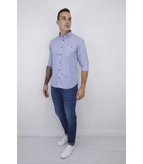 camisa essential manga larga rayas azul oscuro para hombre - cce105