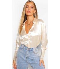 satijnen blouse met oversized manchettes, crème