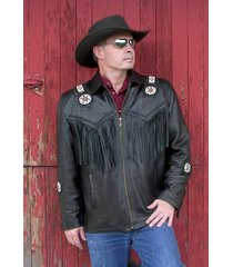 mens black western cowboy leather jacket coat with fringe and beads