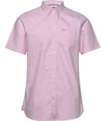 classic uni oxford s/s shirt kortärmad skjorta rosa superdry