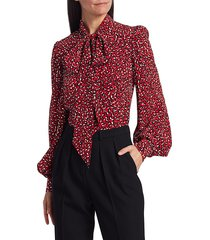 michael kors women's animal-print silk tieneck blouse - crimson multi - size 2