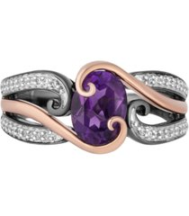 enchanted disney villains amethyst (1-1/3 ct. t.w.) & diamond (1/10 ct. t.w) ursula ring in 14k rose gold & black rhodium-plated sterling silver