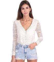 blusa manga larga con tela de encaje flashy
